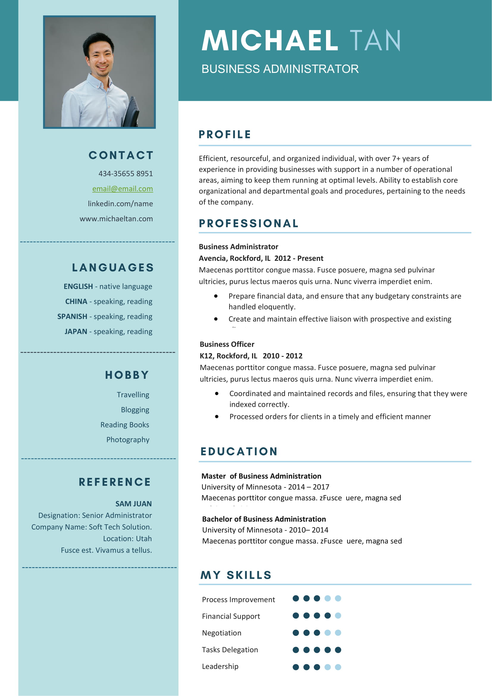 Free Business Administrator Resume Template