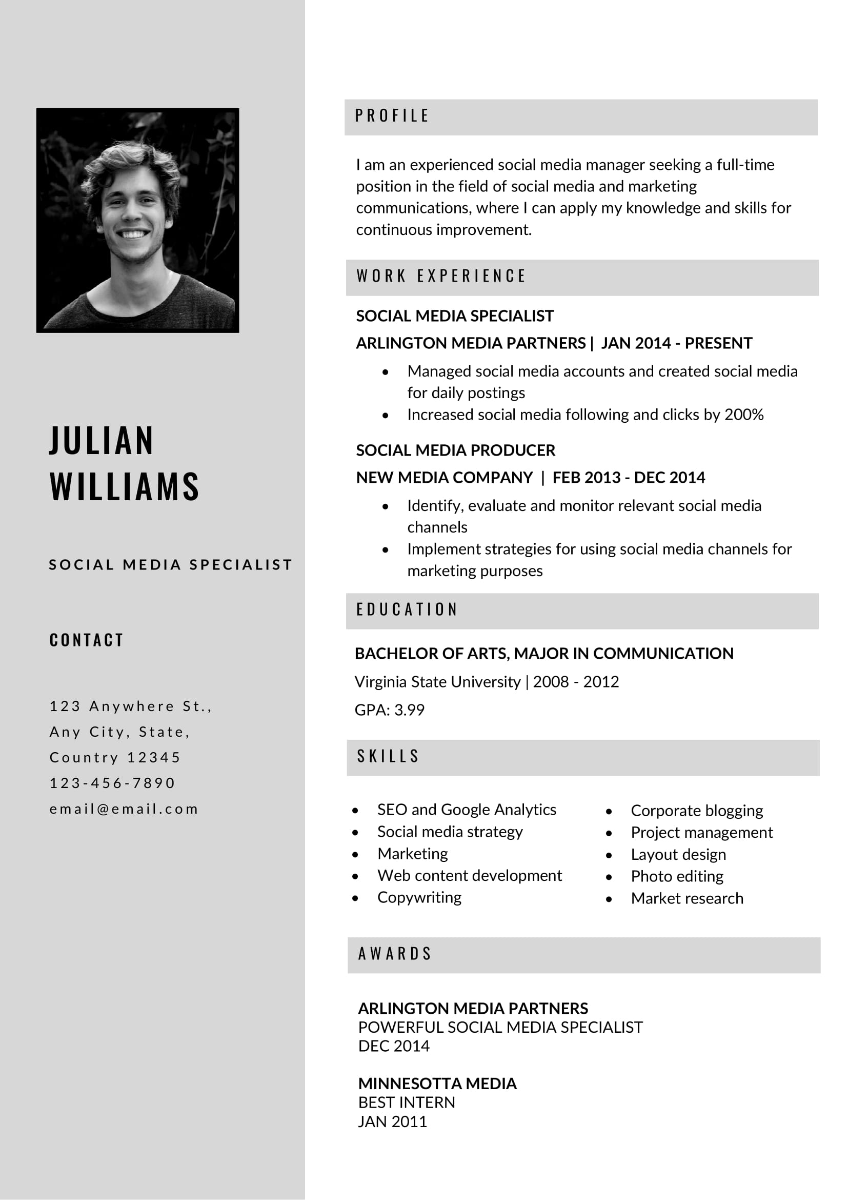 free grey resume template in ms word format  free download