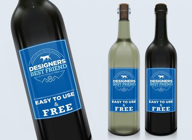 Free Clean Wine Label Bottle Mockup