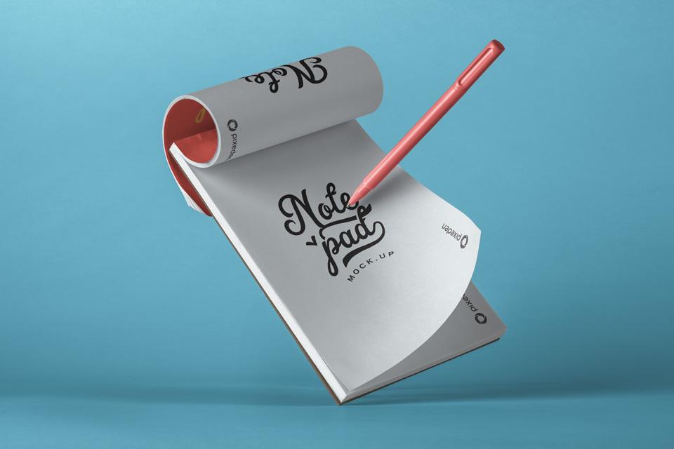 NotepadPSDMockupwithPencil