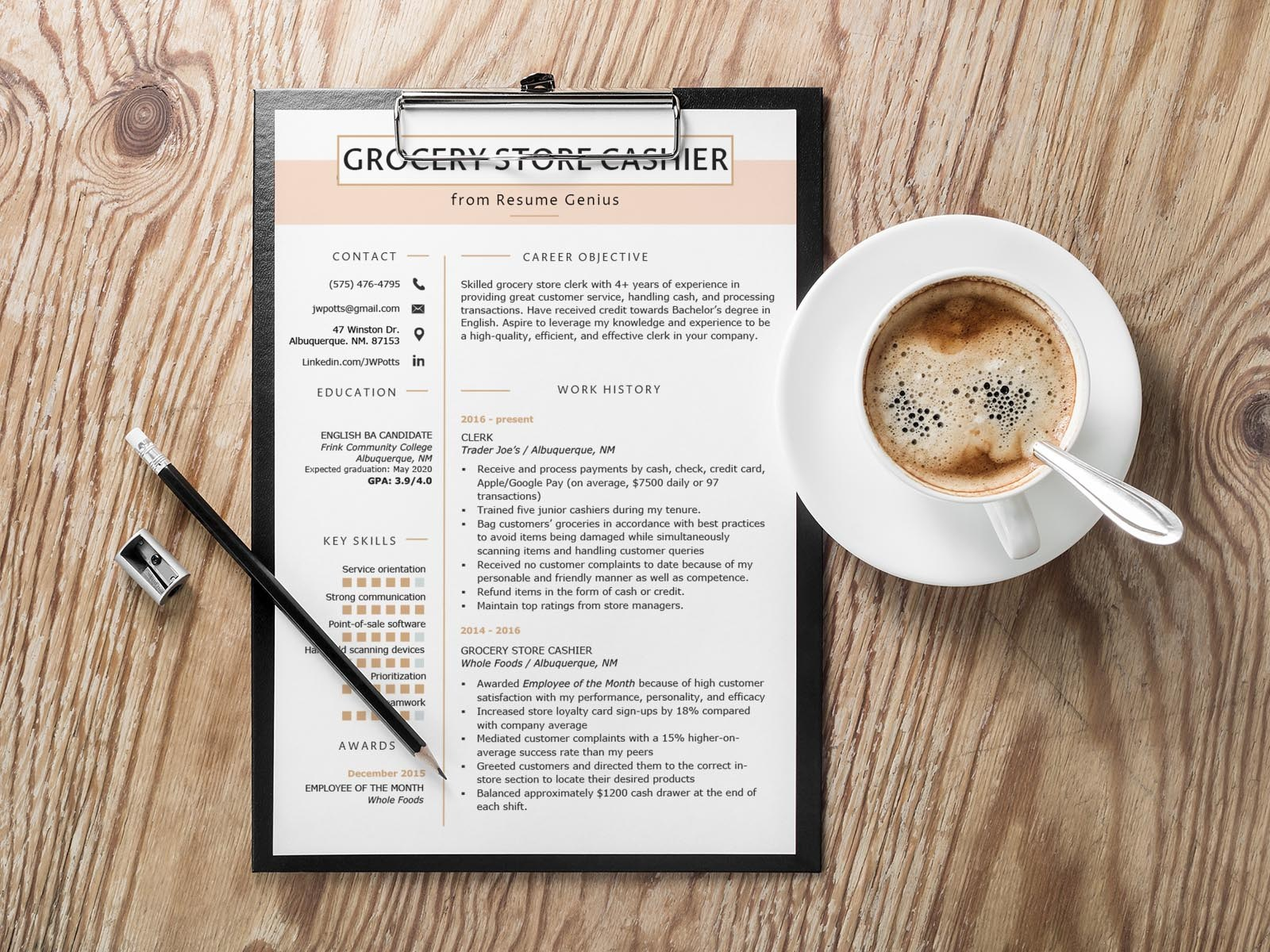 Free Grocery Store Cashier Resume Template