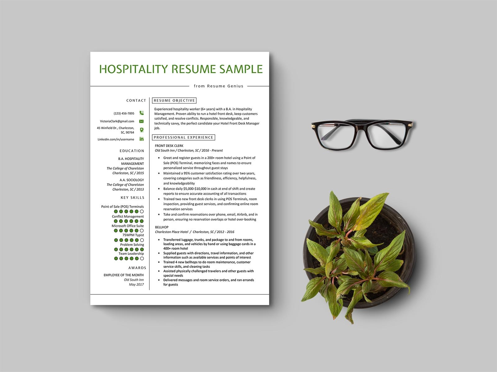 Free Hotel Front Desk Resume Template