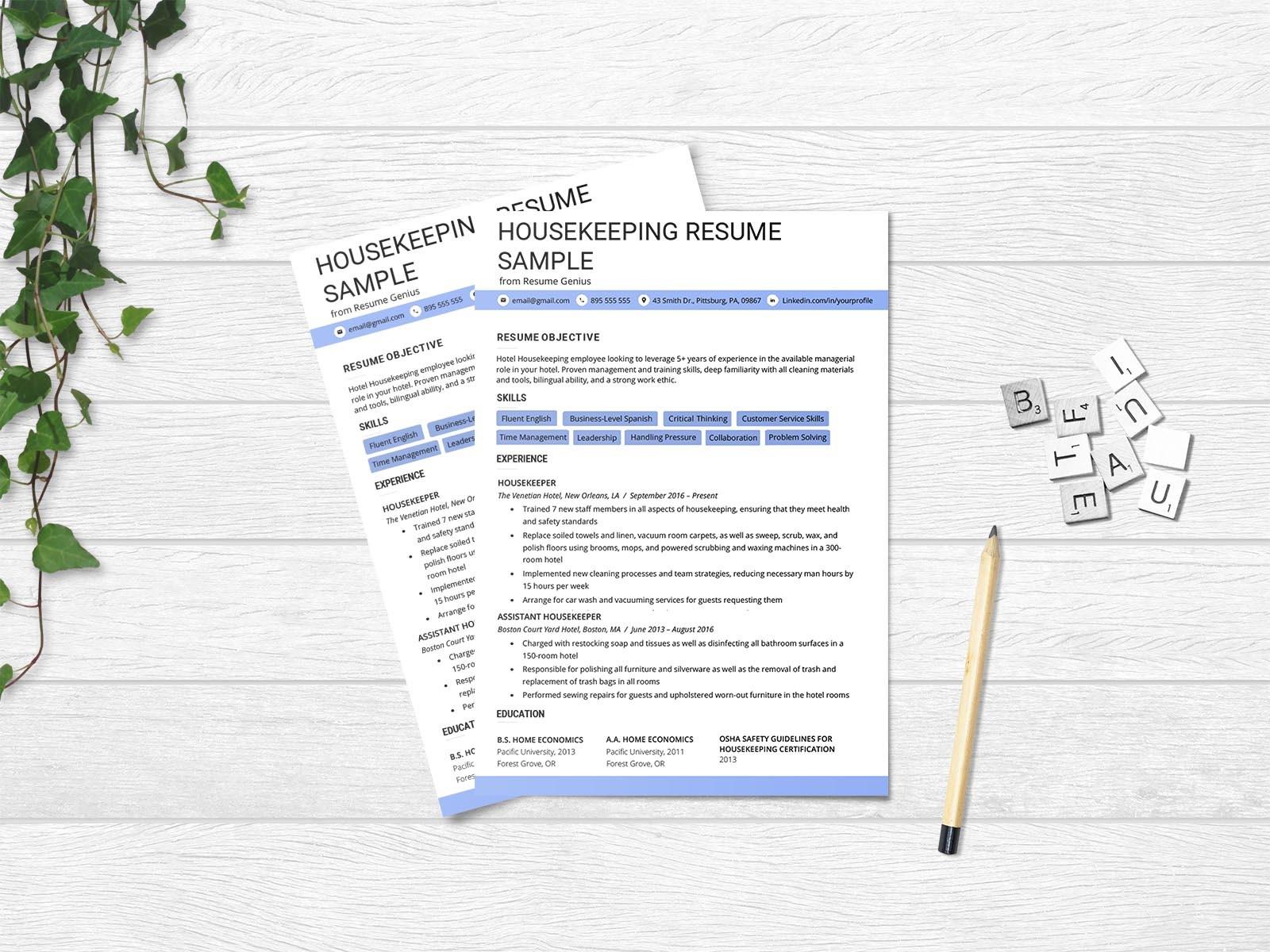 Free Housekeeping Resume Template