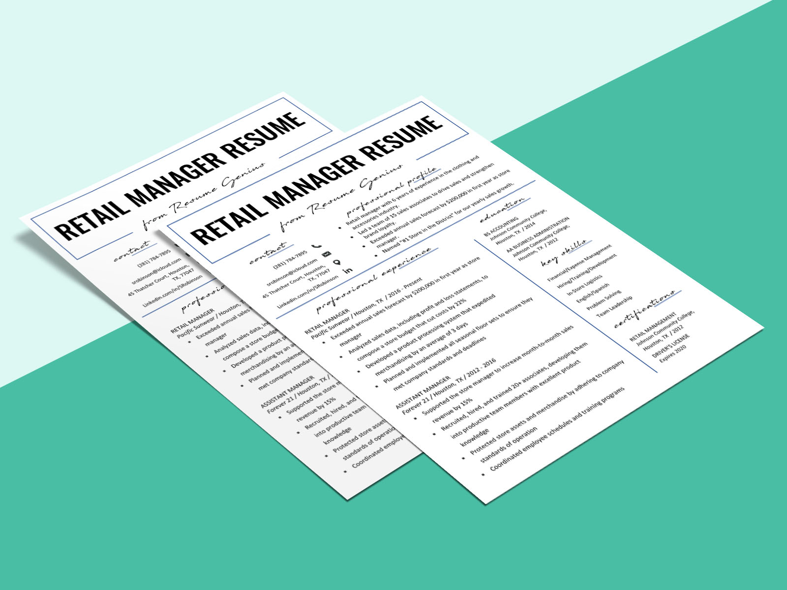 Free Retail Manager Resume Template