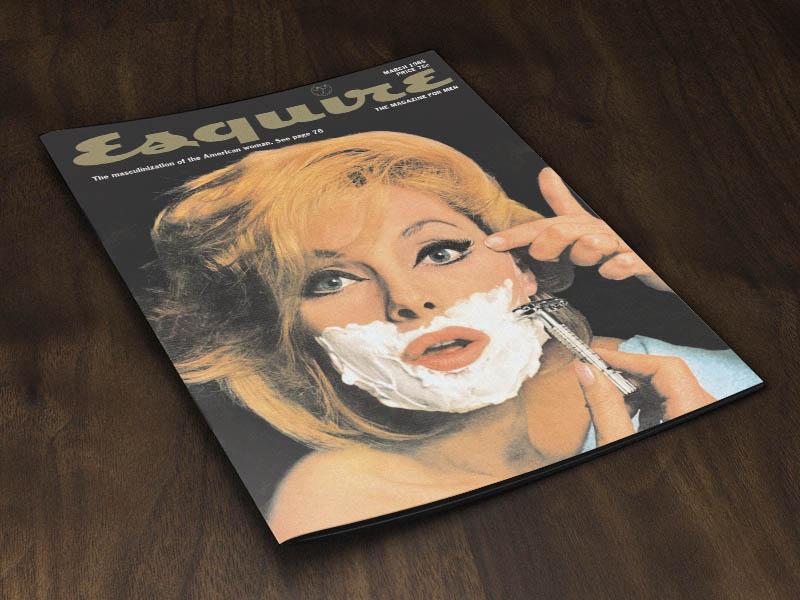 Magazine Cover Mockup in Wooden Floor