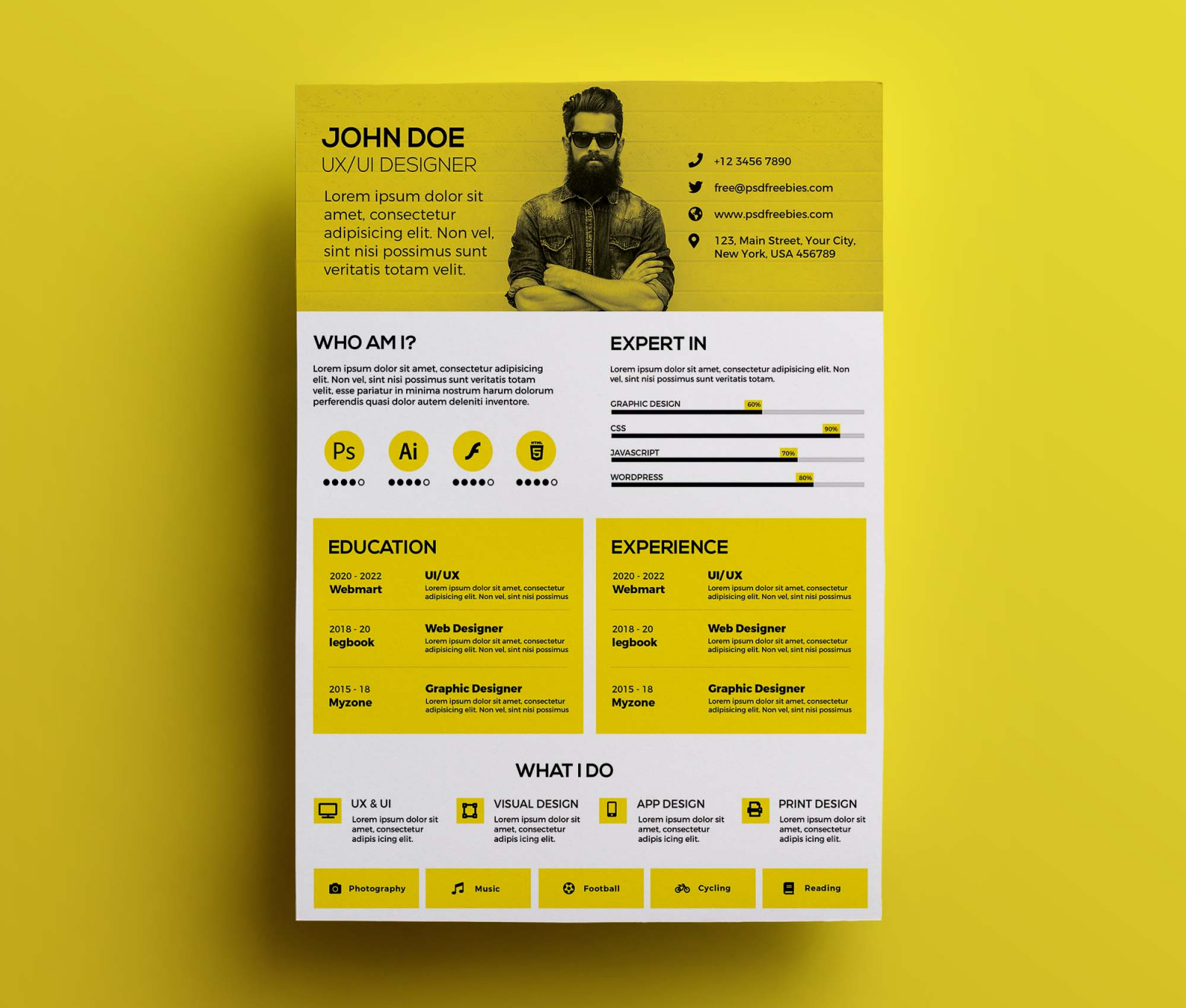Free Modern Resume Design Template (PSD)