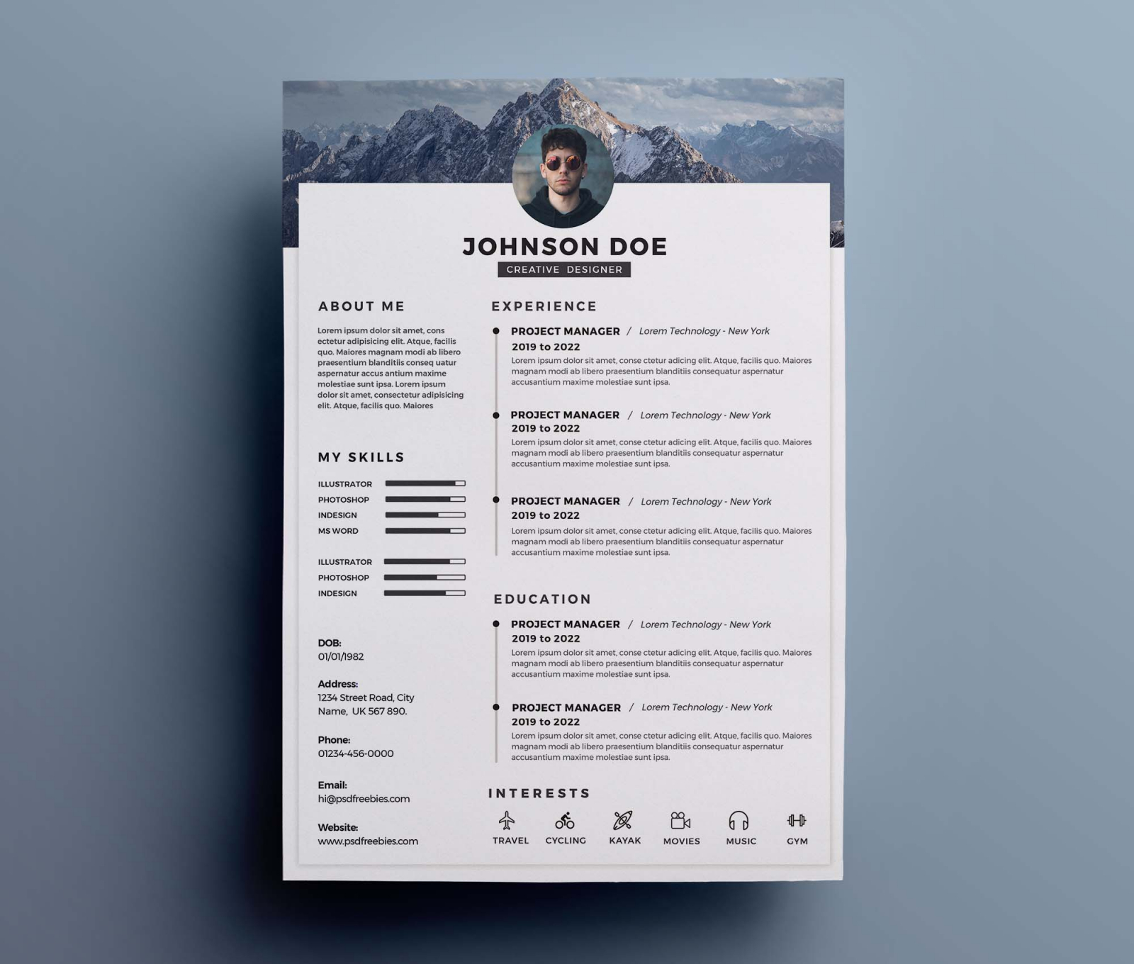 Free One-Page Clean Resume Template (PSD)