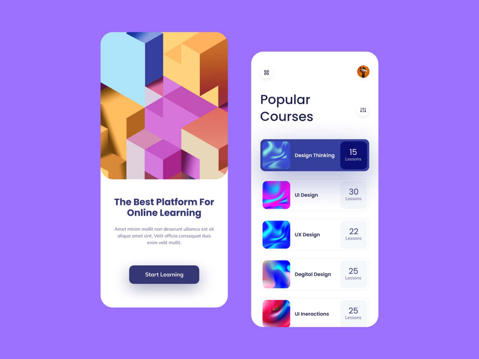 Free Online Learning Mobile App Template (FIG)