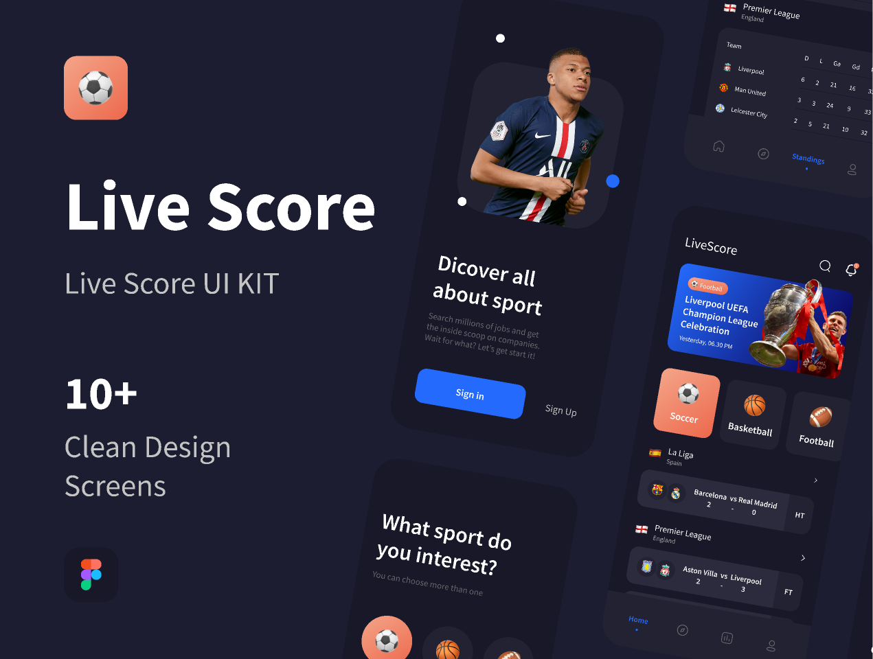 Football Live Score Figma UI kit