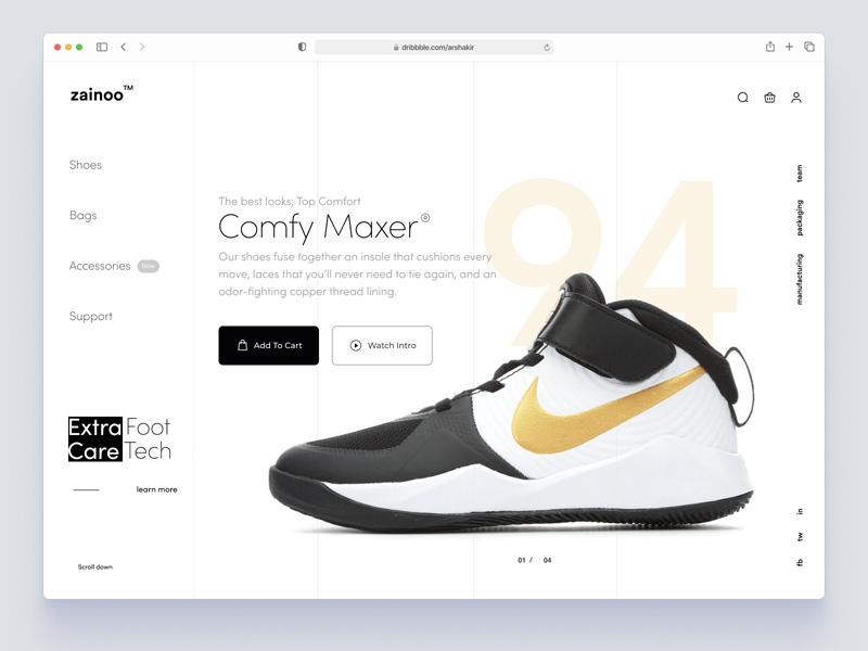 Shoe Store Website Product Page (Zainoo) – Figma