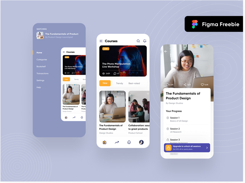 Design Learning Course App UI – Figma