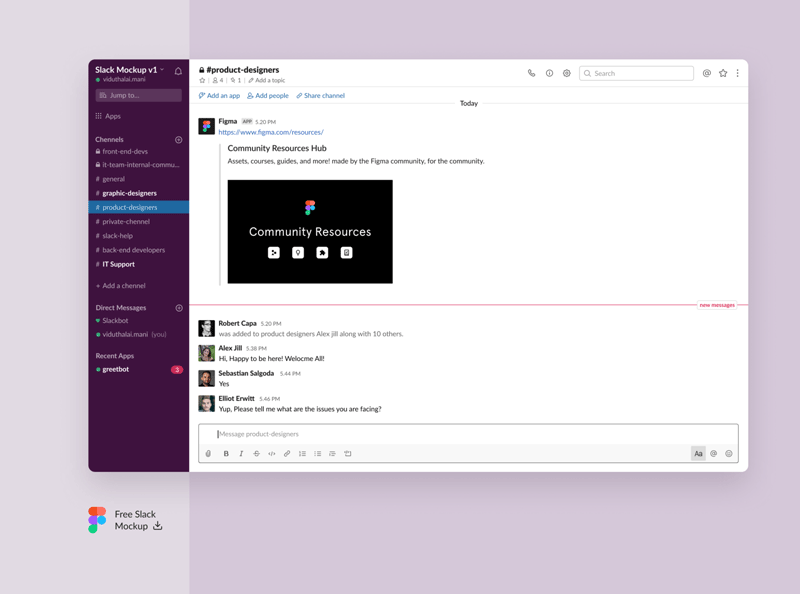 Slack UI Mockup for Figma