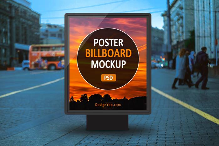 Realistic Outdoor Poster Billboard Mockup