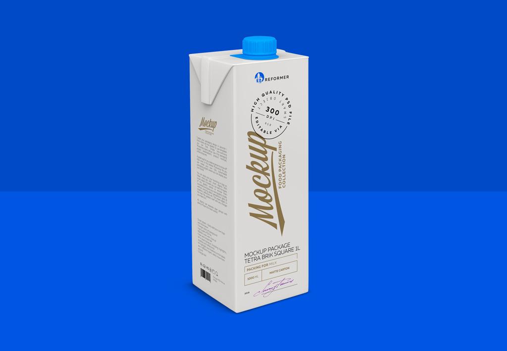 Milk Tetra Brik Square 1L Mockup